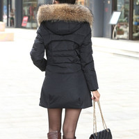 Fashion 2014 Winter Jacket Coat Thicken Slim Female Fur Collar Long Coat Casual Parka Women Plus Size 4XL  WWY070 = 1929690436