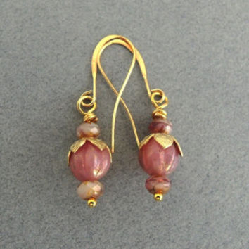 Pink Gold Flower Drop Earrings Delicate Rose Pink Dangles Wedding Jewelry Gold Earrings Garden Inspired Small Dangles Golden Rosebuds