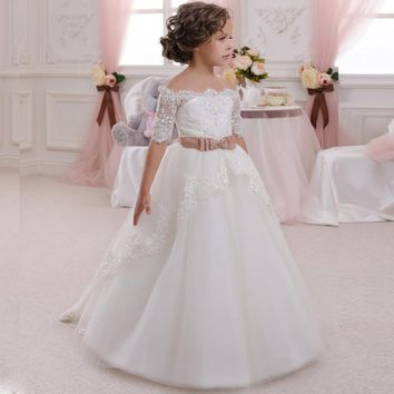 White Kids Evening Lace Half Sleeves With Belt Ball Gown Flower Girl Dress 2016 First Communion Dresses For Girls