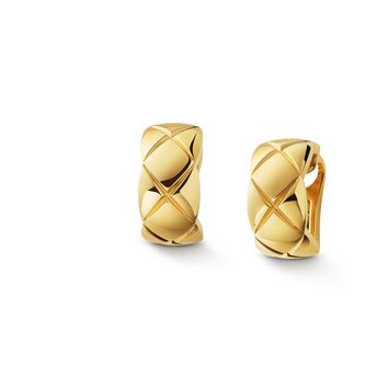 Coco Crush earrings - Quilted motif in 18K yellow gold - J11134 - CHANEL