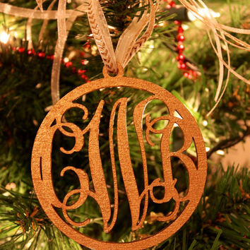 Monogram Christmas Ornament, Christmas Ornament, Initial Ornament, Monogram Christmas Decoration, Wooden Monogram, Ornament