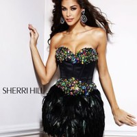 Sherri Hill 2886 Feather Skirt Mini Cocktail Dress New NWT Homecoming