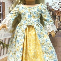 Colonial Morning, En Forreau' Gown (18 inch doll) 1770's dress for AMERICAN GIRL Pattern by Thimbles and Acorns