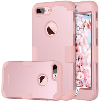 iPhone 8 Plus Case, iPhone 7 Plus Case, BENTOBEN Heavy Duty Slim Shockproof Drop Protection 3 in 1 Hybrid Hard PC Covers Soft Rubber Bumper Protective Case for iPhone 8 Plus / 7 Plus Cute Rose Gold