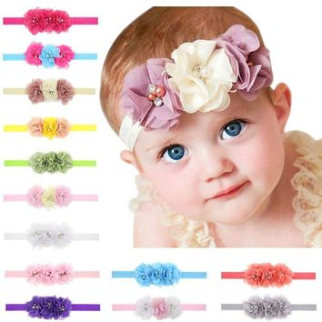 1Pc Newborn Baby Headband With 3 Flower Pearl Diamond Hair Bands Baby Girls Headbands Elasticity Kids Hair Accessories