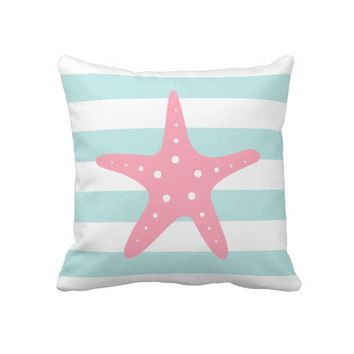 White Mint & Pink Wide Stripes Pattern Starfish Pillow from Zazzle.com