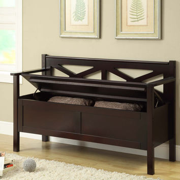 Monarch Specialties Cappuccino Finish Solid Wood Storage Bench