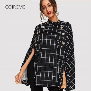 COLROVIE Black Office Double Button Mock Vintage Women Plaid Poncho Coats Streetwear Cape Clothes Winter Warm Lady Outwear