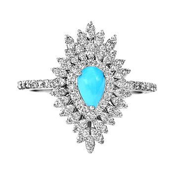 0.62tcw Pear Turquoise & Diamonds in 14K White Gold Cocktail Ring