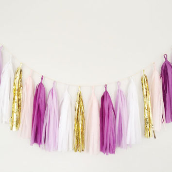Purple Ombre and Gold Tassel Garland - Purple Party Decor, Purple Birthday Decor, Wedding Decor,  Purple Nursery Decor, Baby Shower