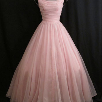 Vintage 1950's 50s Bombshell Emma Domb PINK Ruched Chiffon Organza Party Prom Wedding Dress Gown