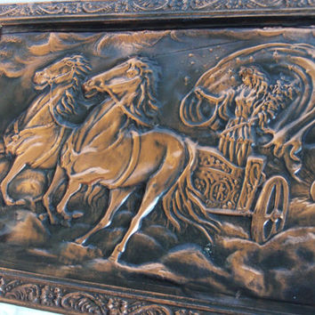 Goddess of Dawn. Charioteer lady driving horse chariot, copper repousse picture, Wall hanging decor, Greek Eos biga carriage bigarius Selene