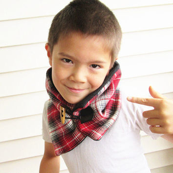 Boys wool scarf-Kid's cowl scarf- plaid scarf-Boys neck warmer-Men's scarf-fleece lined.