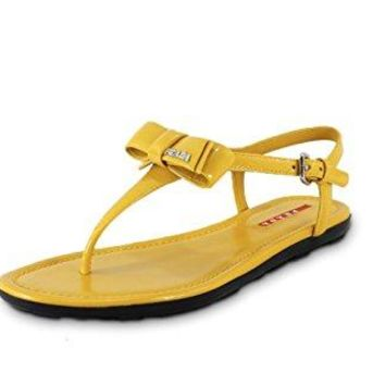 Prada Women's Patent Leather Flat Thong Sandals, Yellow 3Y5692