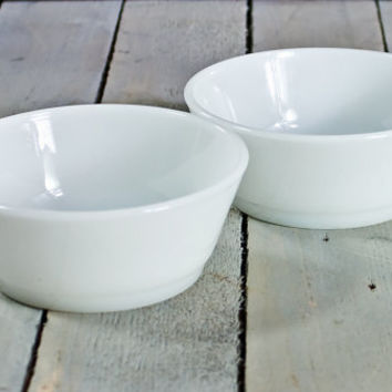 White bowls, Milk glass bowls, Fire King/ Anchor Hocking bowls-set of 2