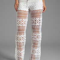 Alexis Michela Lace Pant With Drawstring in White Crochet from REVOLVEclothing.com