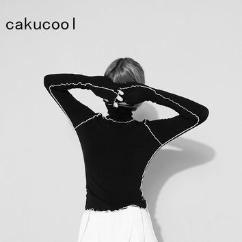 Cakucool Women Cool Girl Extra Long Sleeve T shirts Knit Turtleneck Lace Shirt Personality Slim Sold Black White tShirt Top Lady