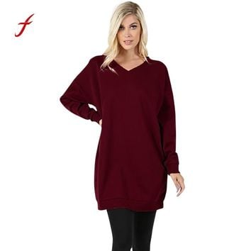 FEITONG Sweatshirt For Women V-Neck Long Sleeve Over Plus Sized Long Tunic Tops Pocket Jumper Pullover Blusa Autumn Winter Shirt