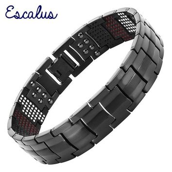 Channah Men Black Health Bracelet 4in1 Magnets Negative Ions Germanium Far Infra Red Titanium