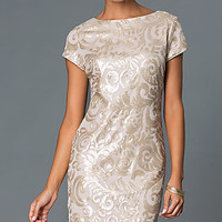 Sequin Print Knee Length Cap Sleeve Dress in Gold