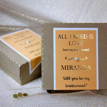 Bridesmaid Gift Set, Peach Bridesmaid Gift Boxes, Gold Foiled Gift Boxes, Bridesmaid Invitations, Be My Bridesmaid Gifts, Party Favors