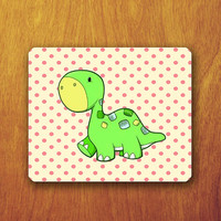 Cute Dinosaur Cartoon Mouse Pad Animal Polkodot Wallpaper Green Dinosaur Office Deco Desk Word Pad Personalized Pad Gift Personalized mat