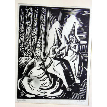 Lillian Scalzo Wood Block Print Black and White Spinsters Vintage Feminist