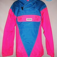 Vintage 80s Neon Florescent Windbreaker Ski Jacket Custom Apparel Made Hood River Oregon Airtime Size Medium One of a Kind