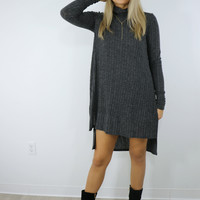Marble Gray Ribbed Turtleneck Tunic