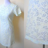 Spring / Summer Sale: sheer pastel green and blue floral shift dress (small)