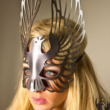 Raven leather mask in Silver by TomBanwell on Etsy