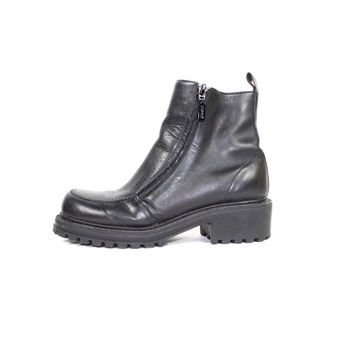 5.5 | 90s ESPRIT black leather ankle boots / vintage 1990s / dual zipper zip up chelsea boot / womens 5 1/2
