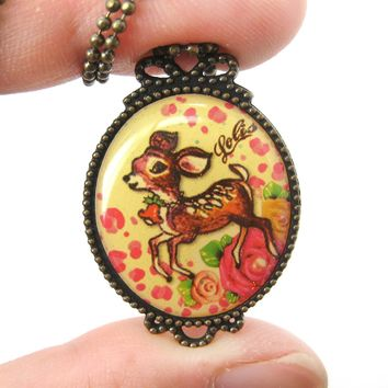 Small Bambi Deer with Roses Illustrated Pendant Necklace | Animal Jewelry