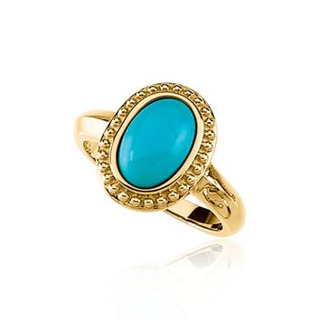 Turquoise Oval Cabochon Ring in 14K Yellow Gold