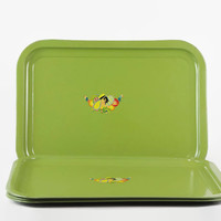 Vintage Tray Set, Green Metal Tray, Art Deco, Garden Party, Lady in Hat