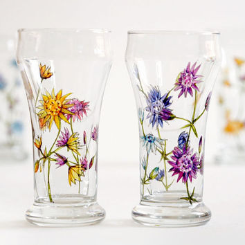 Set of 4 Mini Beer Glasses - Wild Flowers Bouquet