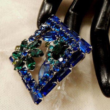 Beautiful Vintage Square Shades of Blue and Green Rhinestone Concave Brooch