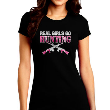 Real Girls Go Hunting Juniors Petite Crew Dark T-Shirt
