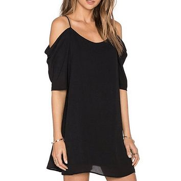 Robe Femme Summer Off Shoulder Dress Spaghetti Strap Ruffles Sleeve Casual Chiffon Sexy Black Slip Dress Vestidos de Playa 2017