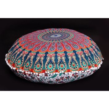 Large Floor Pillows Indian Mandala Round Cushion Covers Pouf Ottoman Tapestry