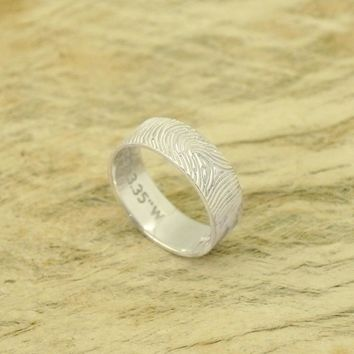 Personalized Fingerprint Ring Band Couple Jewelry Actual Fingerprint Ring Custom Memorial Jewelry  Mother's Day Gifts