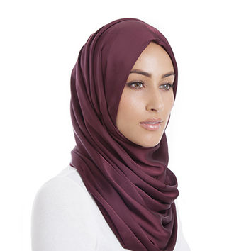DARK BURGUNDY SATIN EFFECT HIJAB - $21.12 : Inayah, Islamic clothing & fashion, abayas, jilbabs, hijabs, jalabiyas & hijab pins
