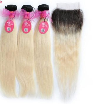 Brazilian Human Hair Ombre Blonde Hair 3 Bundles With 4*4 Lace Closure 1B/613 Color Straight Remy Hair Wefts