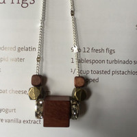 Minimalist/Naturalist Necklace, Faceted Brass and Dark Wood Beads on Sterling-silver plated Chain