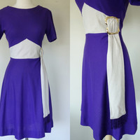 1960s purple dress, fit and flare chevron color block dress w/ sash and purple fringe, short sleeve knit dress, Medium, US 8