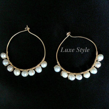 Gold Ear Rings Bridal Pearl Ear Rings Wire Wrapped Metal Jewelry White Contemporary Modern Wedding Handmade Luxe Style