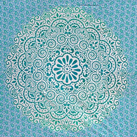 Fairdecor Blue Green Ombre With Leaf Double Shaded Mandala Mandala Tapestry Hippie Hippy Wall Hanging Throw Bedspread Dorm Tapestry Decorative Wall Hanging.
