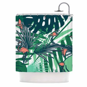 """bruxamagica """"Tropical Leaves Flamingo White"""" White Green Animals Floral Digital Mixed Media Shower Curtain"""