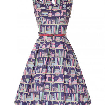 'Lily' Purple Baking Bookcase Print Swing Dress