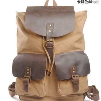 "18""BACKPACK  Genuine Cow Leather Men's leather bag canvas Bag/ leather canvas Briefcase / Messenger bag / Laptop bag  (1819)"